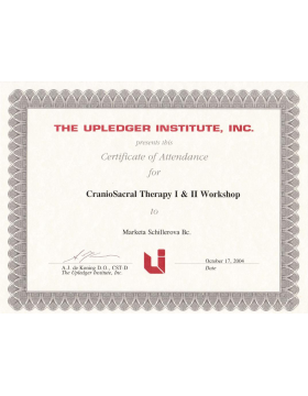 Certificate of Atendance for CranioSacral Therapy I & II Workshop